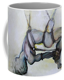 Coffee Mug featuring the painting Gods And Men by Carolyn Weltman