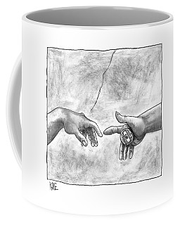 God's Hand Touching Adam's Hand A La Sistine Coffee Mug