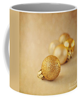 Gold Glittery Christmas Baubles Coffee Mug by Lyn Randle