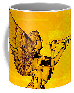 Coffee Mug featuring the photograph Golden Angel With Cross by Denise Beverly
