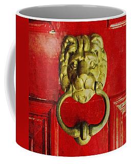 Golden Brass Lion On Red Door Coffee Mug by Brooke T Ryan