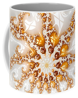 Golden Brown And White Luxe Abstract Art Coffee Mug