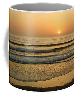 Golden California Sunset - Ocean Waves Sun And Surfers Coffee Mug by Georgia Mizuleva