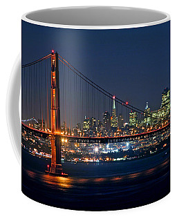 Coffee Mug featuring the photograph Golden Gate Night 10-26-10 by Christopher McKenzie