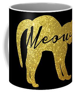 Golden Glitter Cat - Meow Coffee Mug