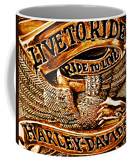 Golden Harley Davidson Logo Coffee Mug