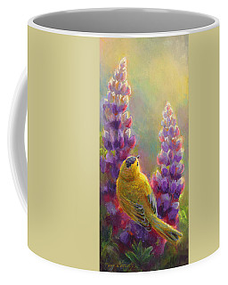 Golden Light 1 Wilsons Warbler And Lupine Coffee Mug by Karen Whitworth
