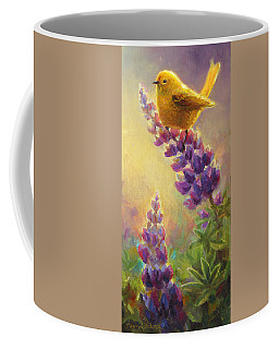 Golden Light 2 Wilsons Warbler And Lupine Coffee Mug by Karen Whitworth
