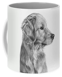 Golden Retriever Puppy In Charcoal One Coffee Mug by Kate Sumners
