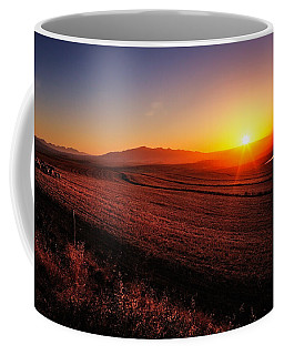 Golden Sunrise Over Farmland Coffee Mug