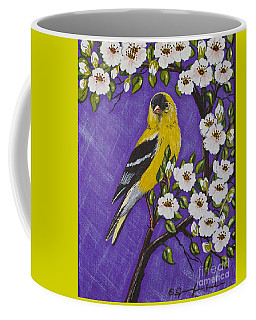 Goldfinch In Pear Blossoms Coffee Mug