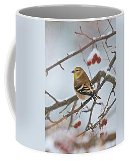 Goldfinch In Snow Coffee Mug