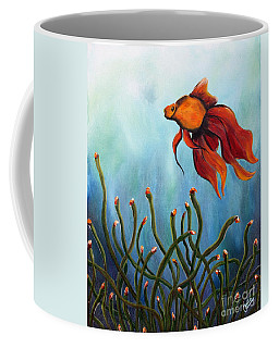 Coffee Mug featuring the painting Goldfish by Jolanta Anna Karolska