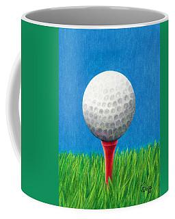 Coffee Mug featuring the drawing Golf Ball And Tee by Janice Dunbar