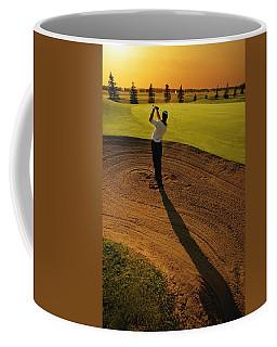 Golfer Taking A Swing From A Golf Bunker Coffee Mug
