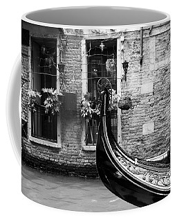 Coffee Mug featuring the photograph Gondola In Venice Bw by Mel Steinhauer