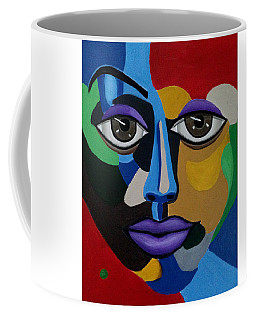 Colorful Illusion Abstract Face Art Painting, Big Brown Eye Art, Optical Artwork Coffee Mug
