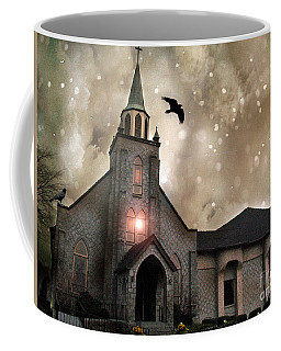 Gothic Surreal Haunted Church And Steeple With Crows And Ravens Flying  Coffee Mug