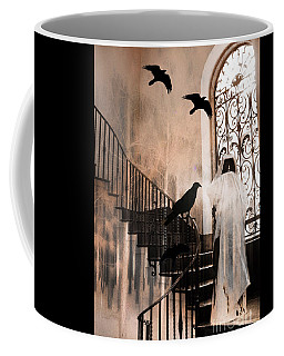 Gothic Grim Reaper With Ravens Crows - Spooky Haunting Surreal Gothic Art Coffee Mug