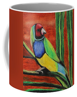 Coffee Mug featuring the painting Gouldian Finch by Jeanne Fischer