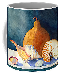 Coffee Mug featuring the painting Gourd And Shells by Katherine Miller