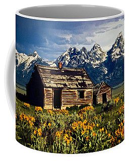 Coffee Mug featuring the photograph Grand Tetons Cabin by John Haldane