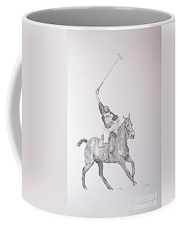 Graphite Drawing - Shooting For The Polo Goal Coffee Mug