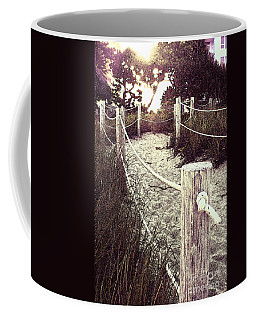 Grassy Beach Post Entrance At Sunset Coffee Mug