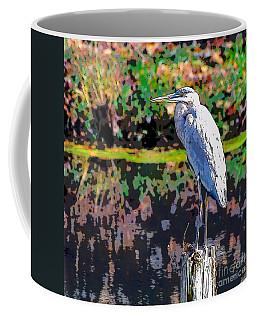 Great Blue Heron At The Pond Coffee Mug