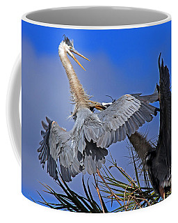 Great Blue Heron Fight  Coffee Mug