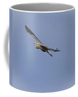 Great Blue Heron In Flight-2 Coffee Mug