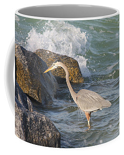 Great Blue Heron On The Prey Coffee Mug by Christiane Schulze Art And Photography