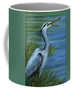 Coffee Mug featuring the painting Great Blue Heron by Sandra Estes