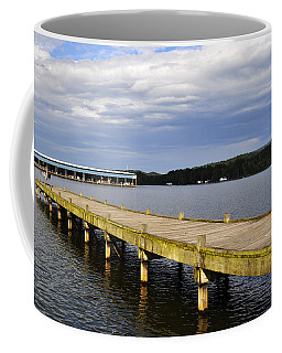 Great Blue Heron Sunning On The Dock Coffee Mug