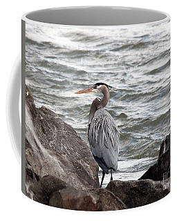 Coffee Mug featuring the photograph Great Blue Heron by Trina  Ansel