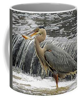 Great Blue Heron With Fish Coffee Mug