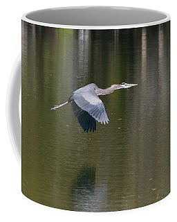 Coffee Mug featuring the photograph Great Blue Over Green by Paul Rebmann