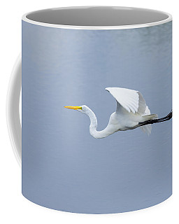 Coffee Mug featuring the photograph Great Egret In Flight by John M Bailey