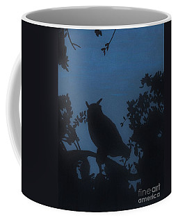 Coffee Mug featuring the drawing Owl At Night by D Hackett