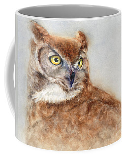 Coffee Mug featuring the painting Great Horned Owl by Bonnie Rinier