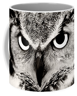 Great Horned Owl In Black And White Coffee Mug