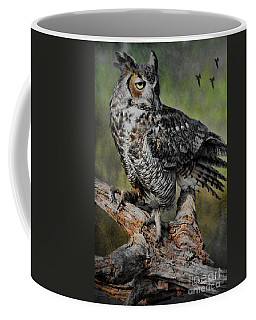 Great Horned Owl On Branch Coffee Mug