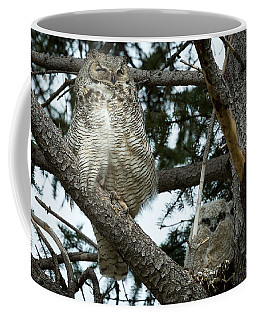 Coffee Mug featuring the photograph Great Horned Owls by Michael Chatt
