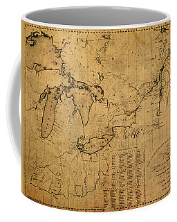 Great Lakes And Canada Vintage Map On Worn Canvas Circa 1812 Coffee Mug
