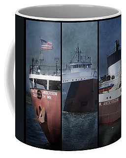 Great Lakes Freighter Triptych Arthur M Anderson Coffee Mug