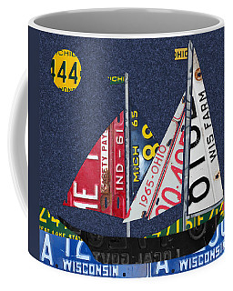 Great Lakes States Sailboat Recycled Vintage License Plate Art Coffee Mug