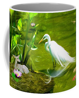 Great White Egret Bird With Deer And Fish In Lake  Coffee Mug