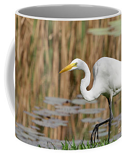 Great White Egret By The River Coffee Mug
