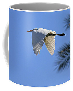 Coffee Mug featuring the photograph Great White In Flight by Penny Meyers