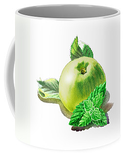 Coffee Mug featuring the painting Green Apple And Mint Happy Union by Irina Sztukowski